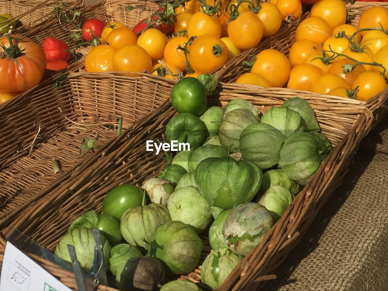 basket, vegetable, food and drink, high angle view, food, day, healthy eating, fruit, freshness, no people, outdoors