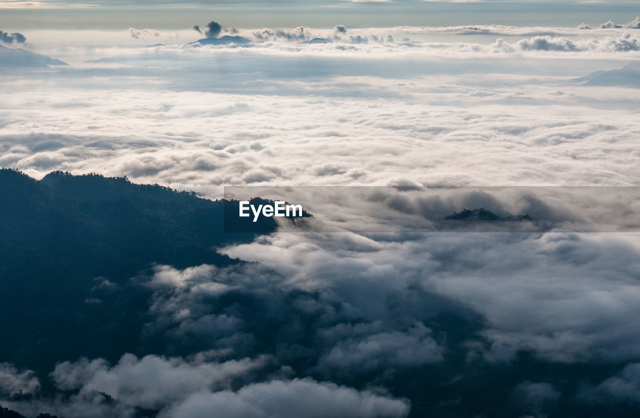 AERIAL VIEW OF CLOUDSCAPE OVER CLOUDY SKY