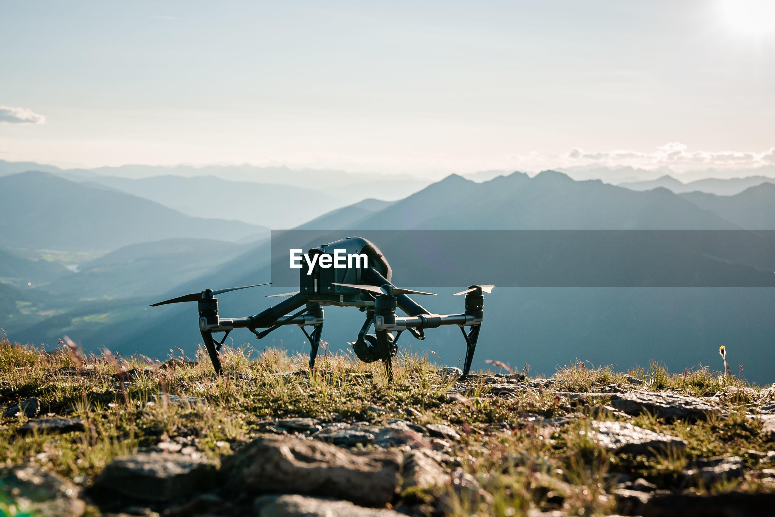 Close-up of drone on mountain