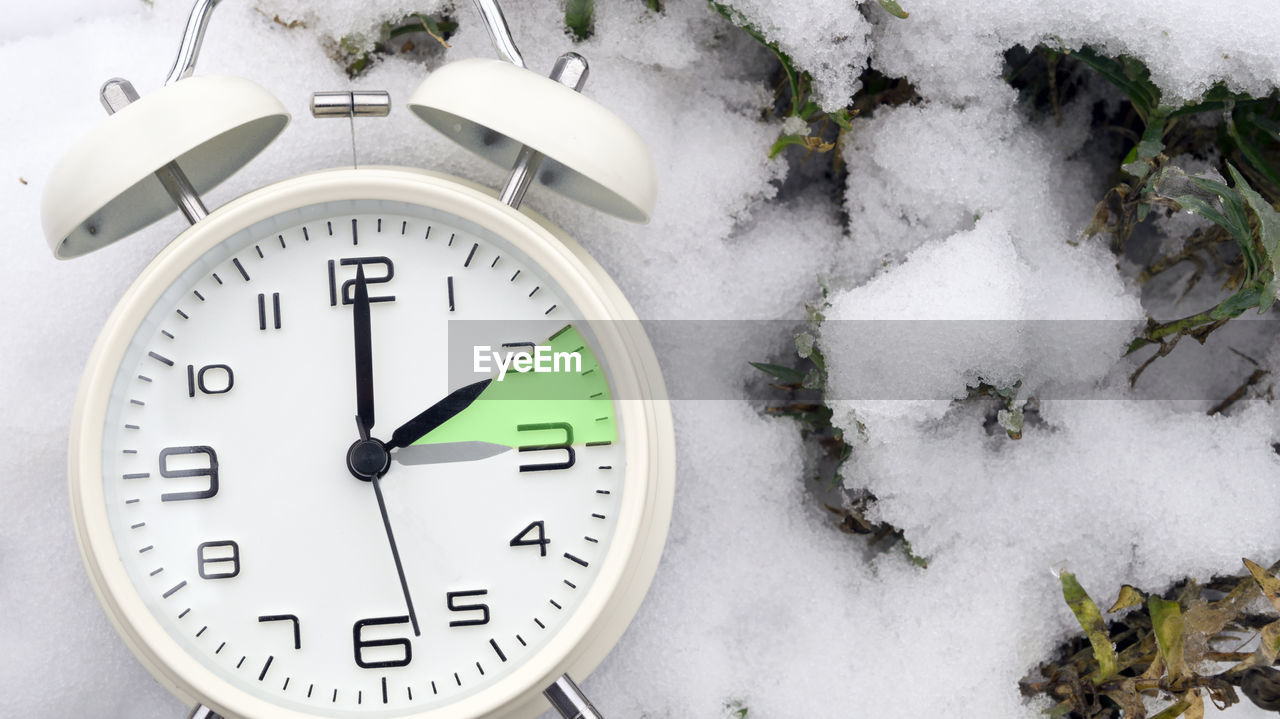 clock, time, number, cold temperature, snow, winter, instrument of time, white color, no people, day, nature, frozen, close-up, indoors, minute hand, communication, covering, shape, clock face, wall clock