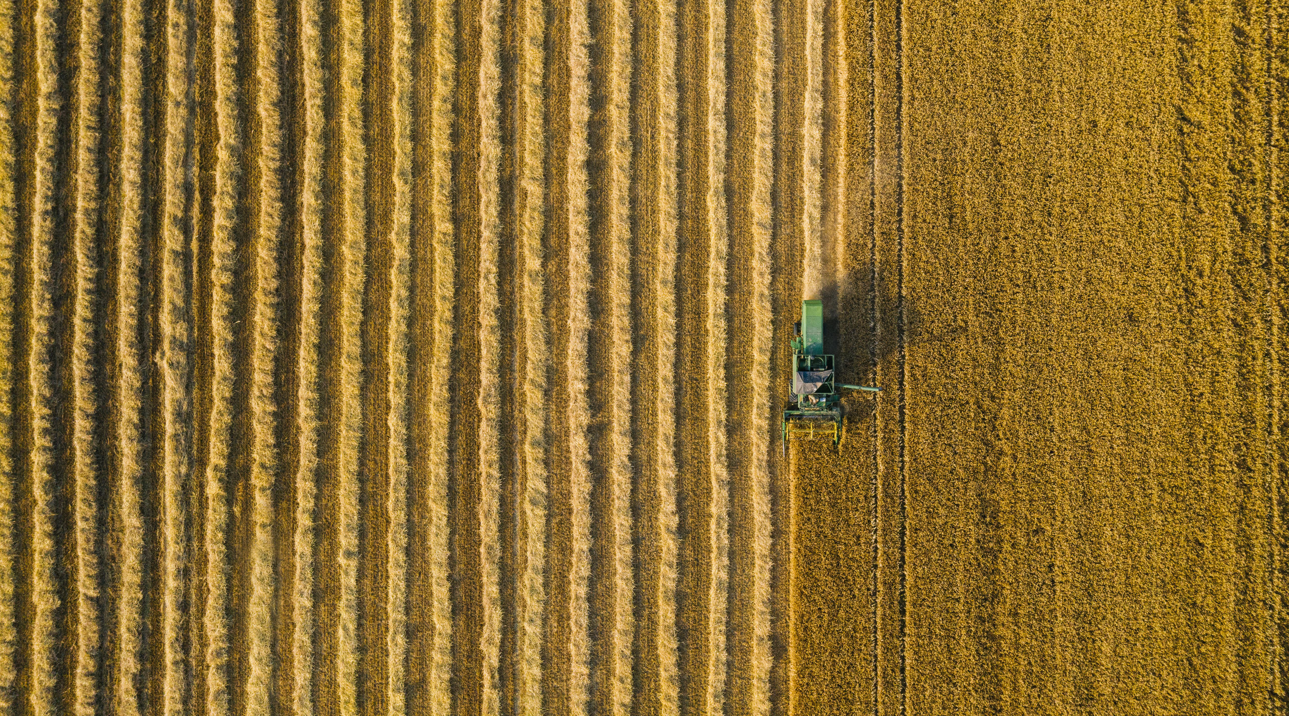 Aerial view of agriculture machinery on field