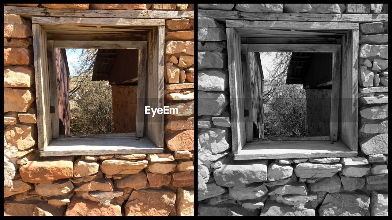 window, architecture, built structure, no people, day, building exterior, building, solid, house, outdoors, old, wall - building feature, wall, nature, glass - material, stone - object, sunlight, open, abandoned, residential district, stone wall