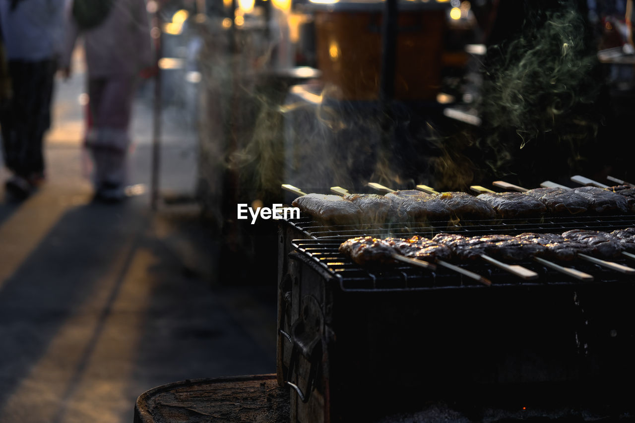 High angle view of barbecue grill at market