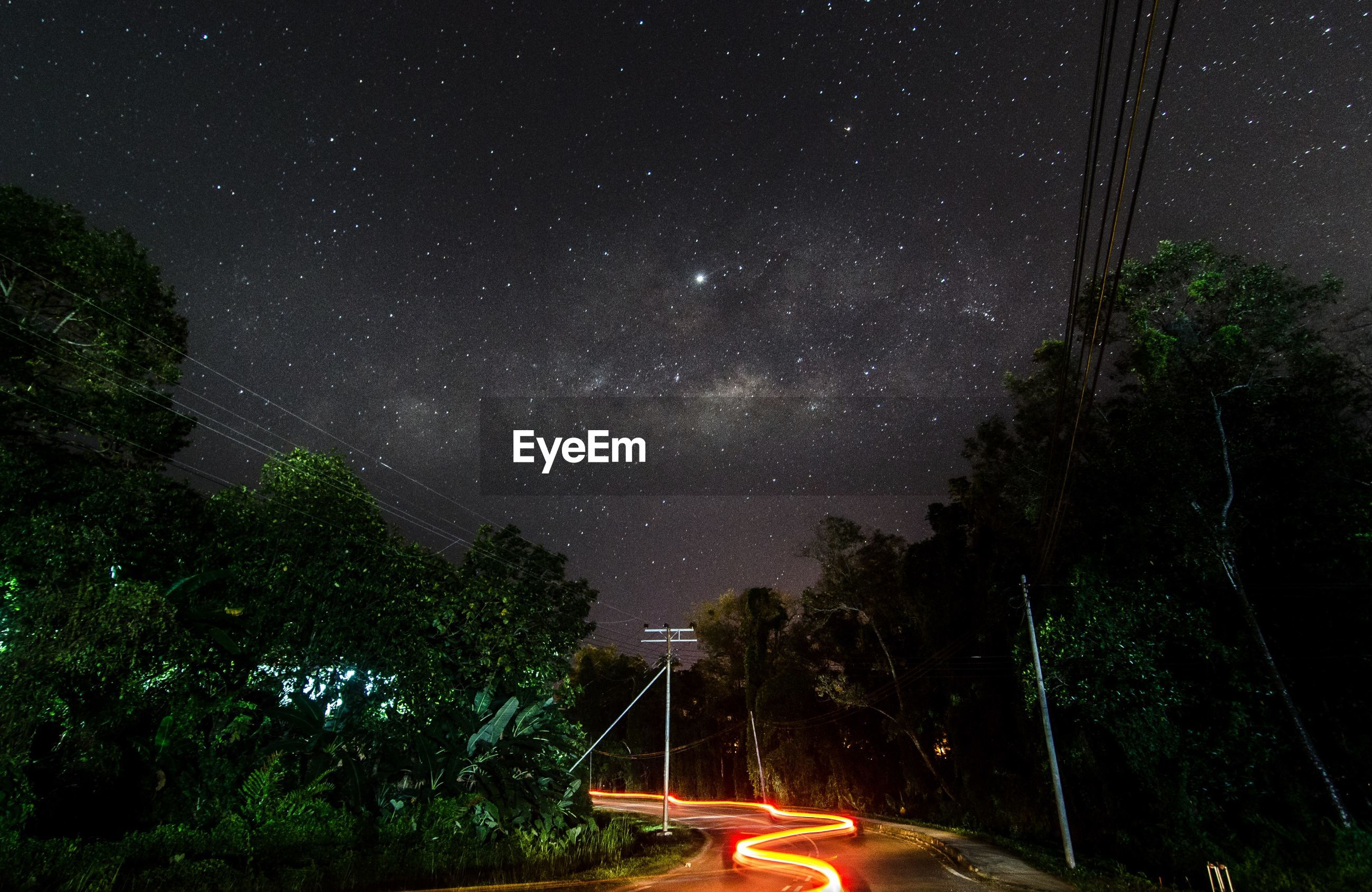Light trails on road amidst trees against sky at night