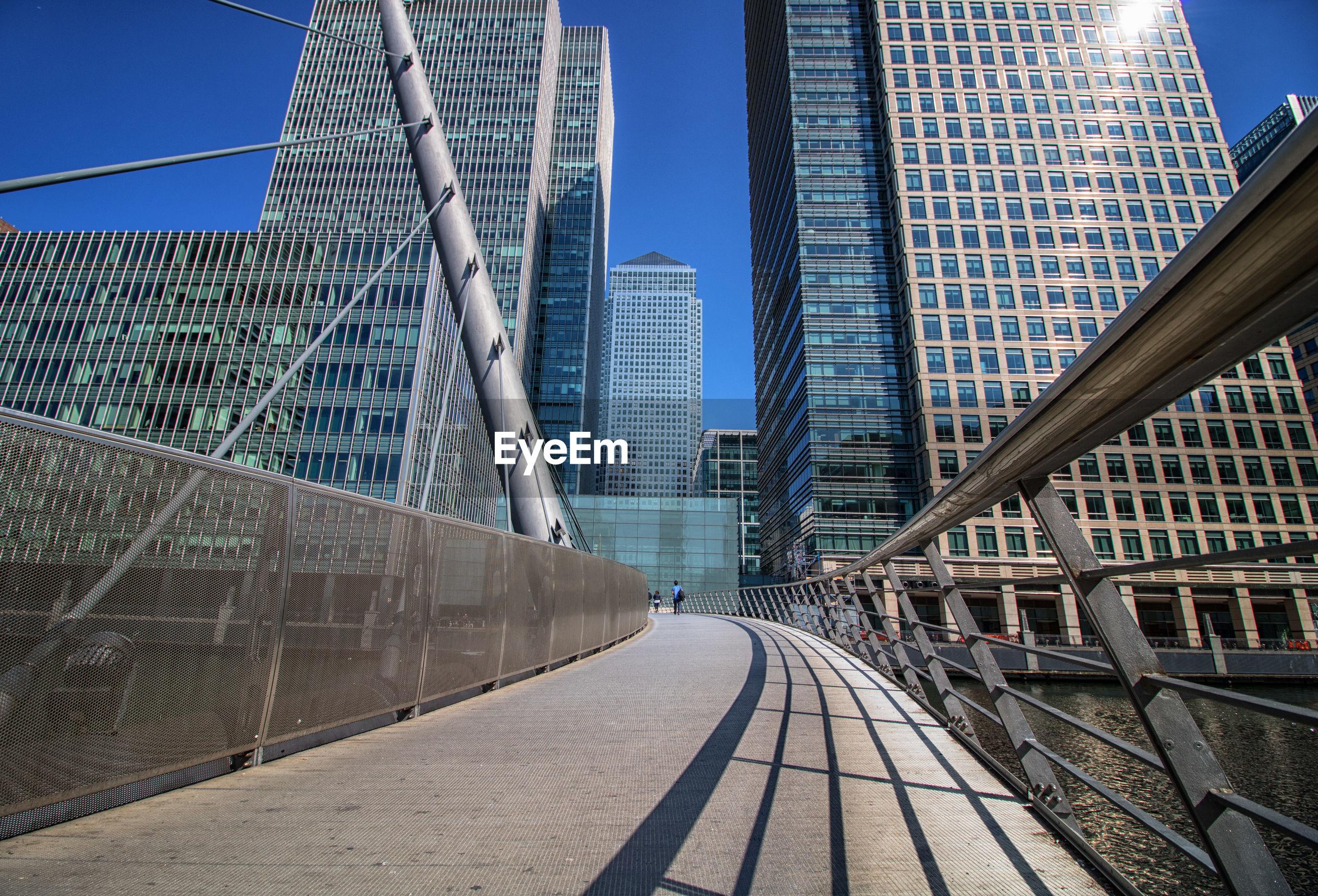 MODERN BRIDGE IN CITY AGAINST CLEAR SKY