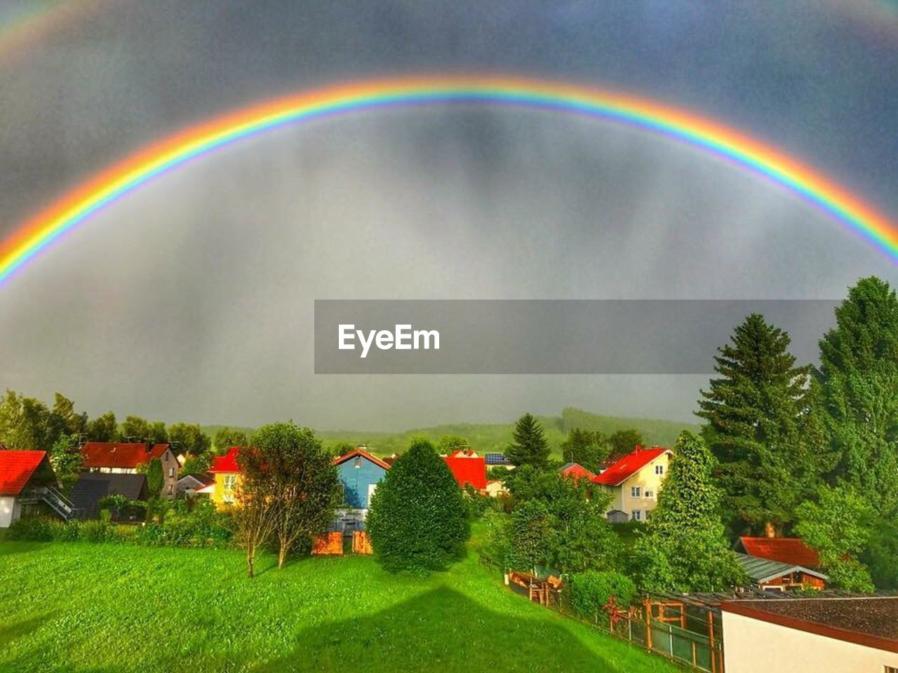 rainbow, multi colored, built structure, house, grass, nature, double rainbow, building exterior, architecture, no people, beauty in nature, day, tree, outdoors, sky, scenics