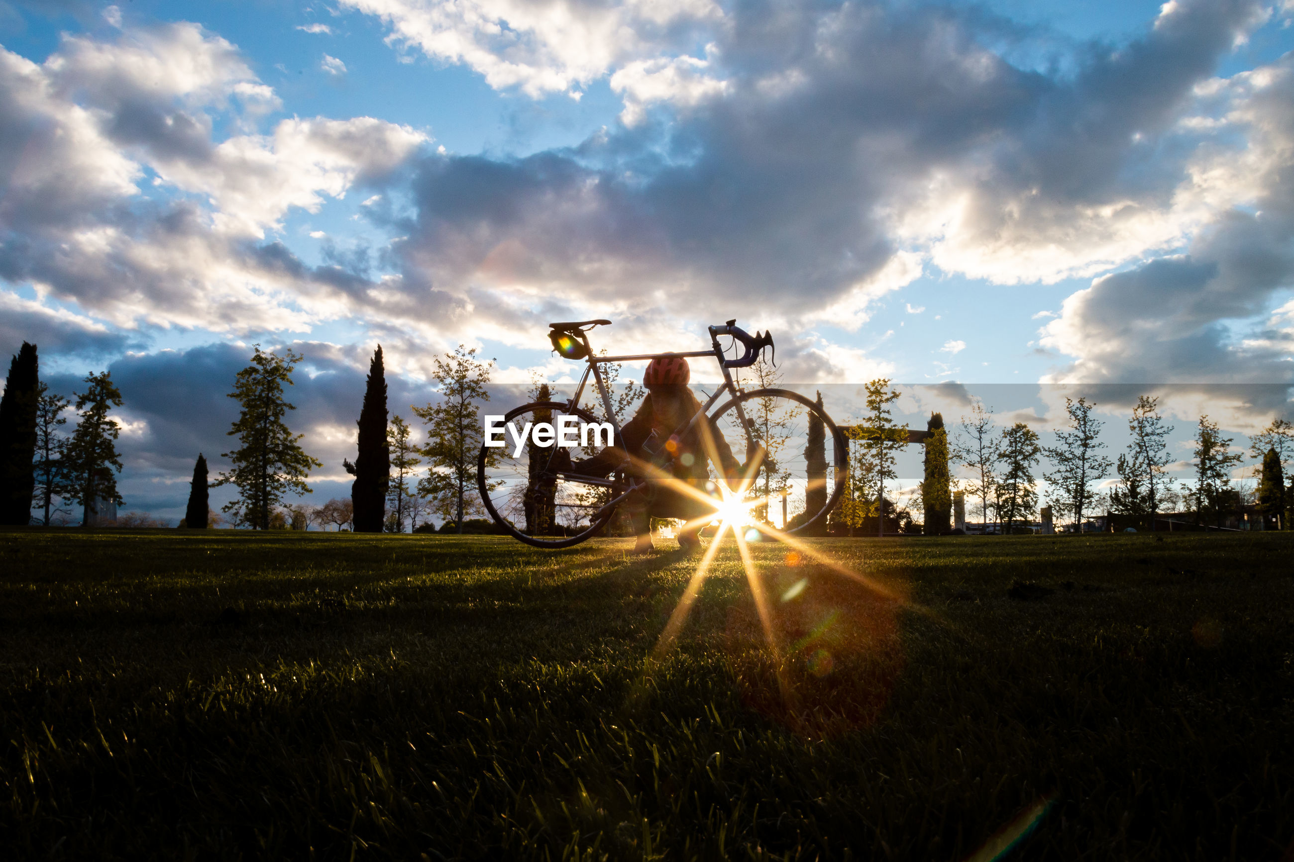 Silhouette man with bicycle on field
