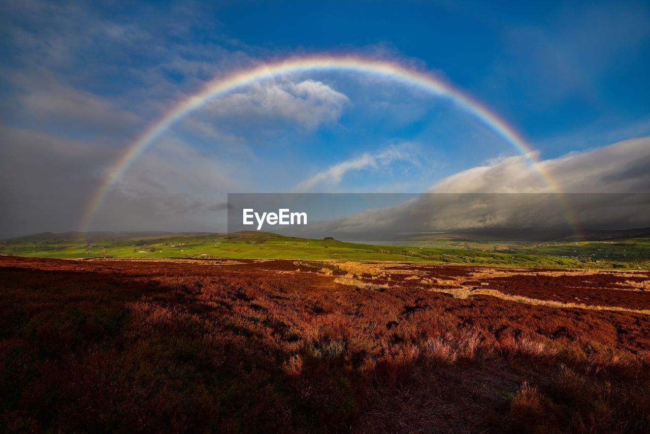 Scenic View Of Rainbow Over Field