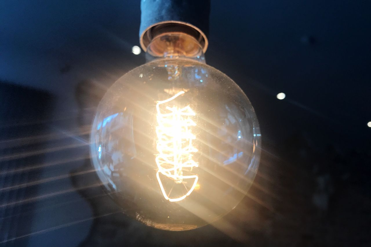 electricity, light bulb, lighting equipment, illuminated, filament, close-up, no people, technology, indoors, low angle view, day