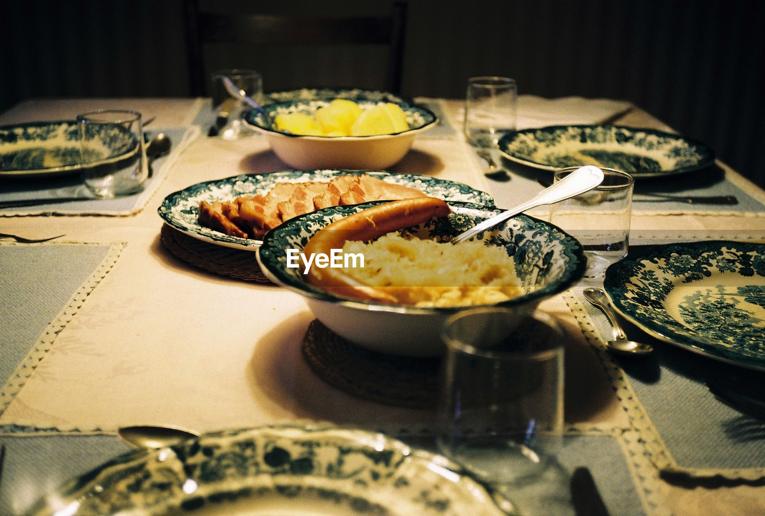 Kassler with sausages served on table