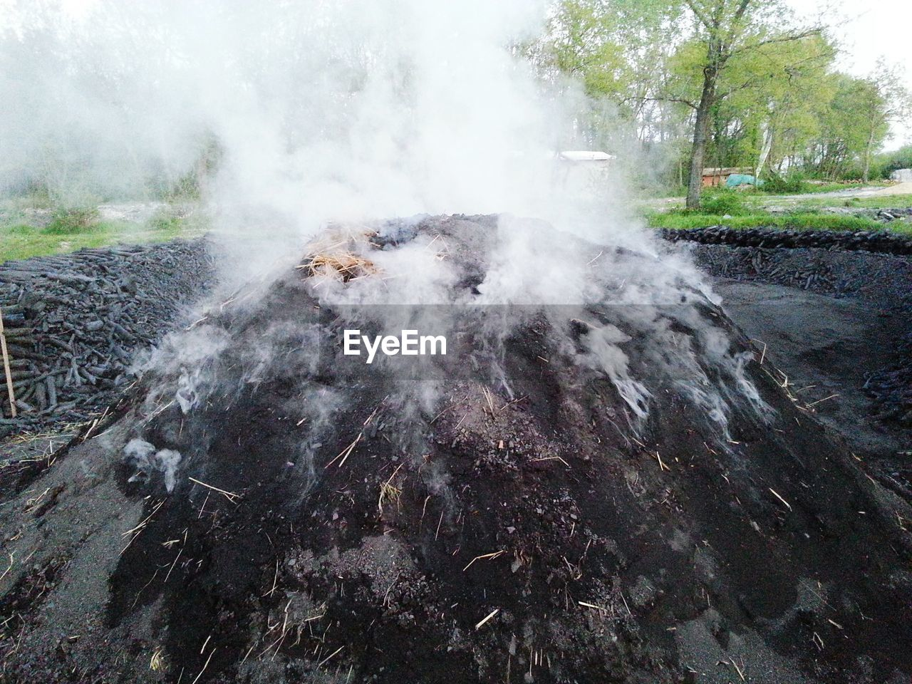 smoke - physical structure, steam, no people, day, outdoors, nature, hot spring, close-up