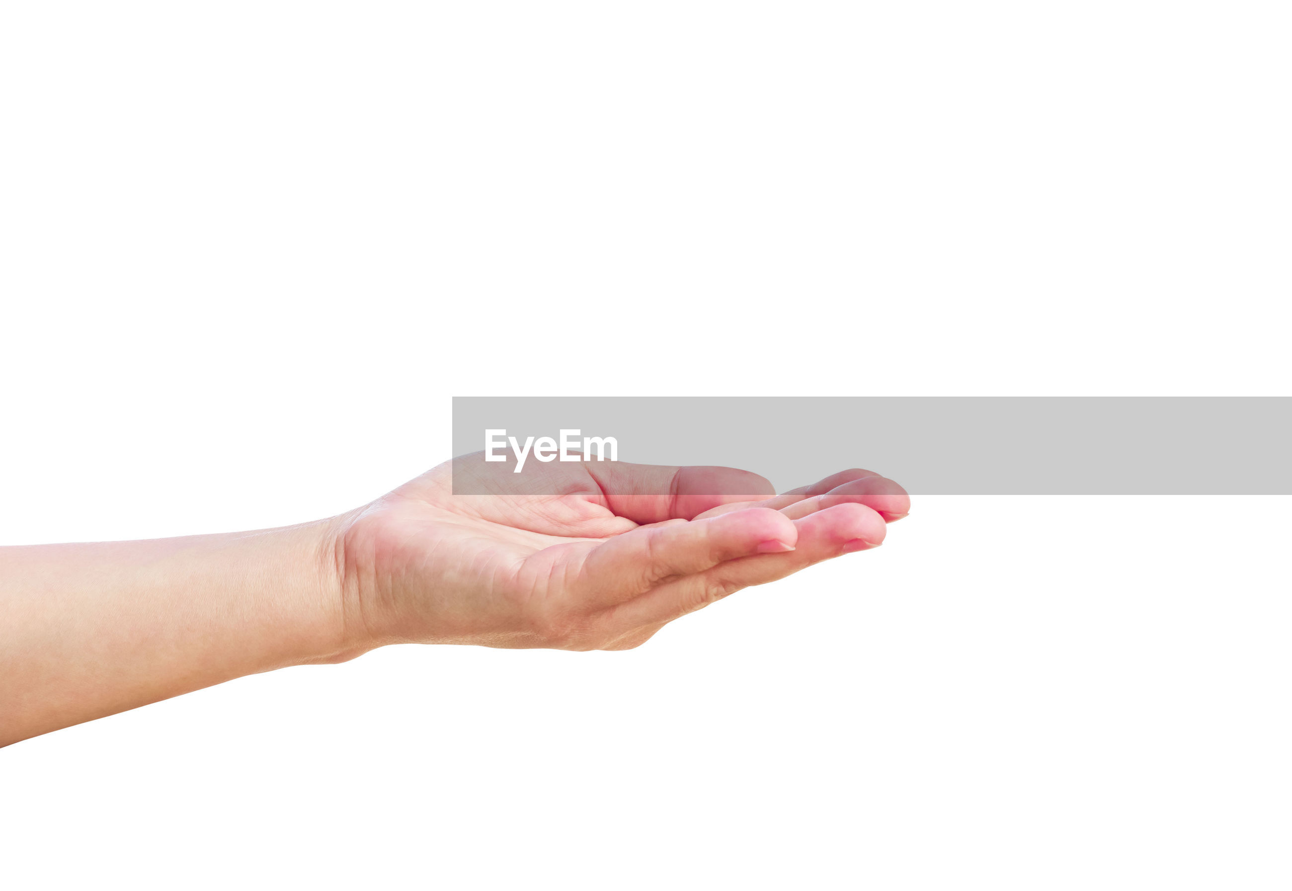 Close-up of hand gesturing against white background