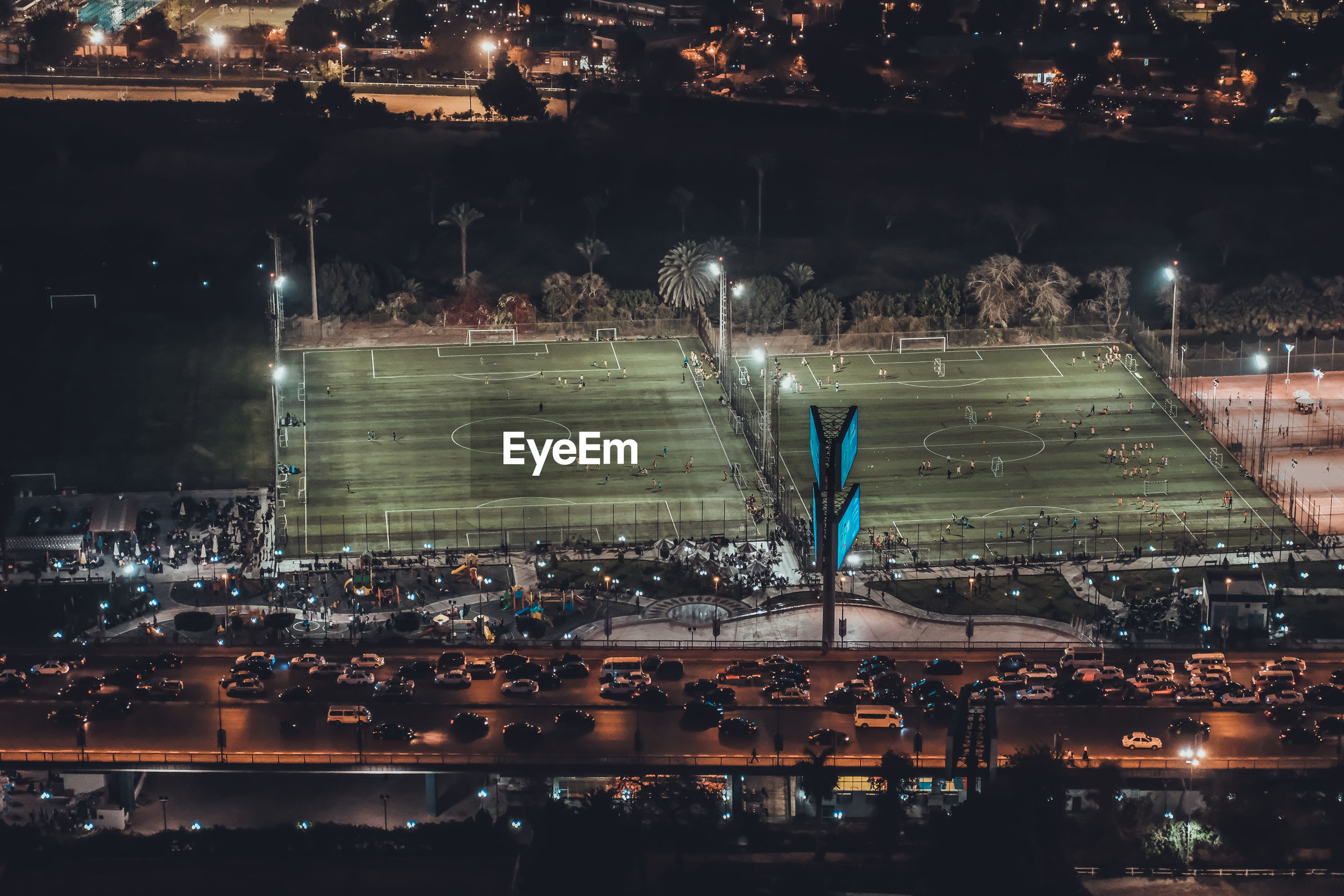Aerial view of soccer field at night