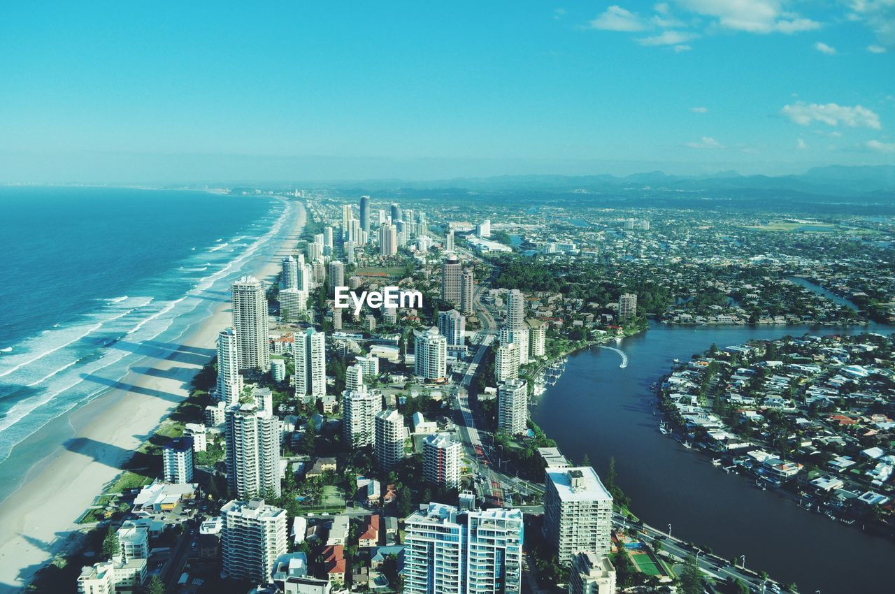 High Angle View Of Gold Coast Cityscape