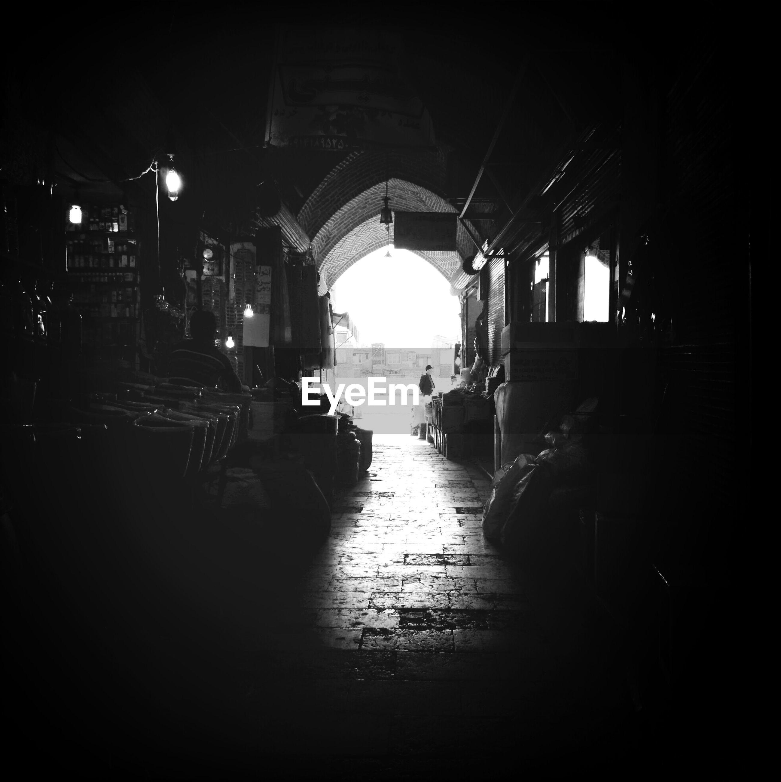 Entrance to a dark old bazaar