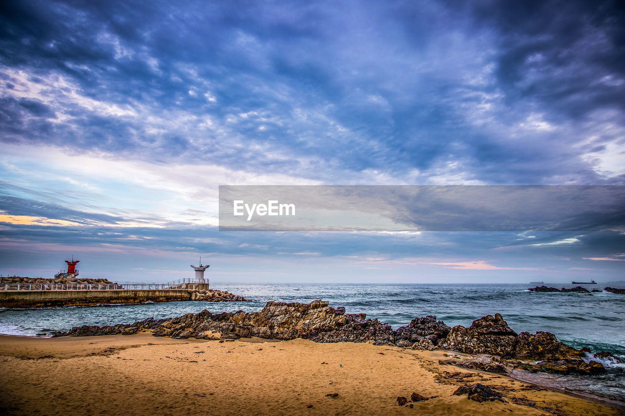 sky, cloud - sky, water, sea, beach, land, beauty in nature, scenics - nature, tranquility, nature, tranquil scene, horizon over water, horizon, sunset, rock, rock - object, solid, idyllic, no people, outdoors