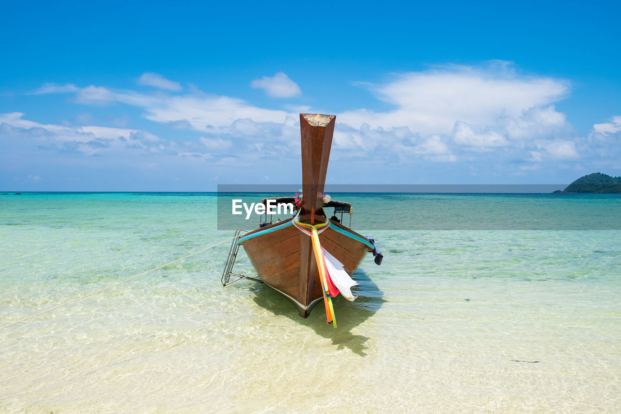 sea, sky, water, horizon over water, beauty in nature, horizon, scenics - nature, tranquil scene, cloud - sky, beach, tranquility, land, nature, day, idyllic, no people, blue, outdoors, transportation, turquoise colored