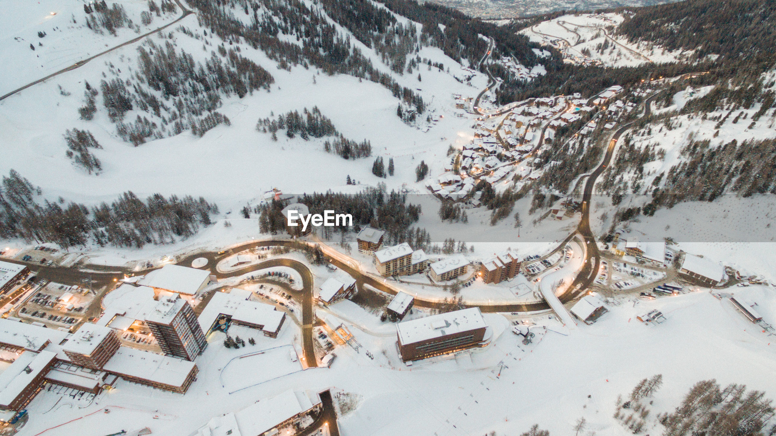 Aerial view of buildings in city during winter