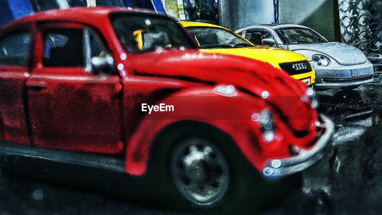 red, car, land vehicle, transportation, mode of transport, stationary, day, no people, old-fashioned, outdoors, close-up