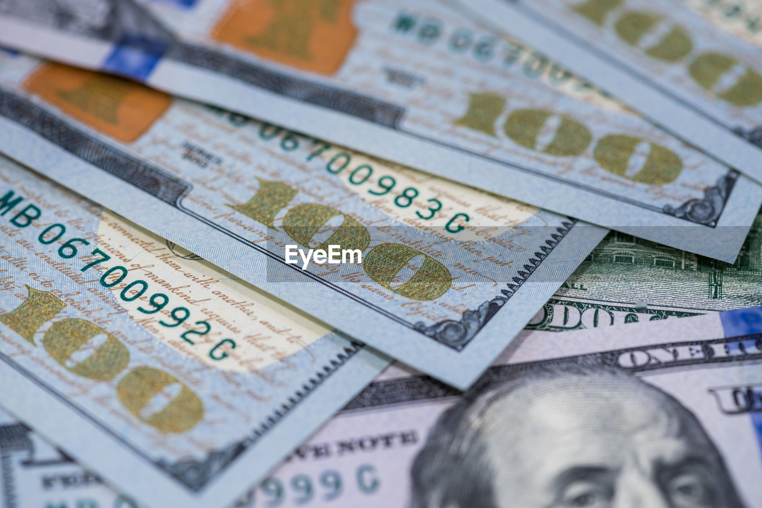 Close up of 100 dollars.