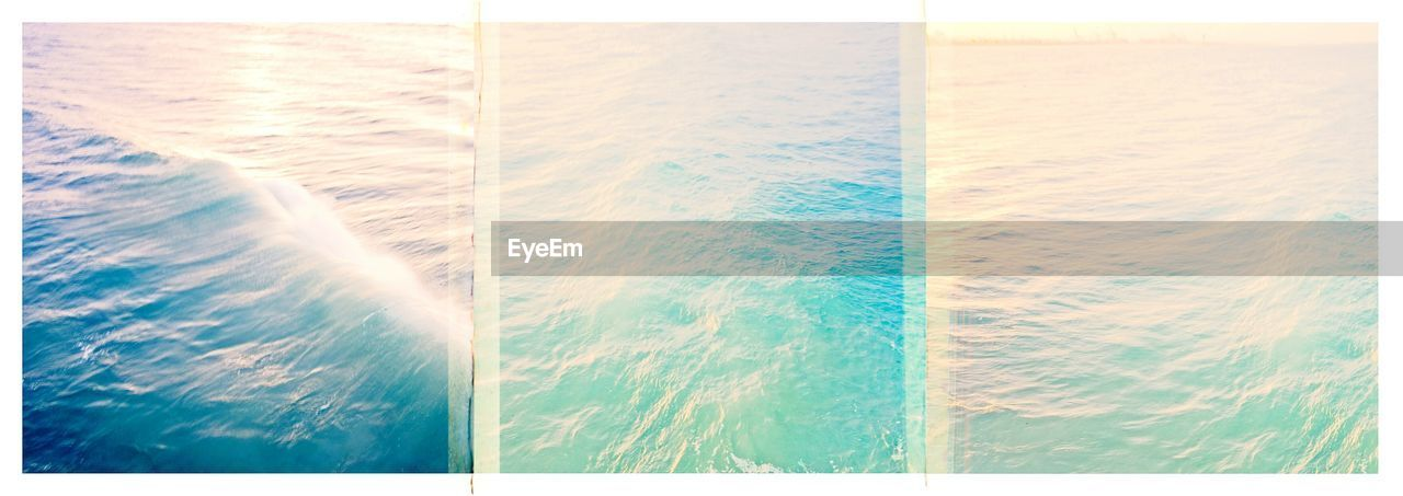 sea, auto post production filter, water, beach, nature, beauty in nature, tranquility, no people, outdoors, collage, sunlight, wave, horizon over water, day, full frame, scenics, close-up, sky