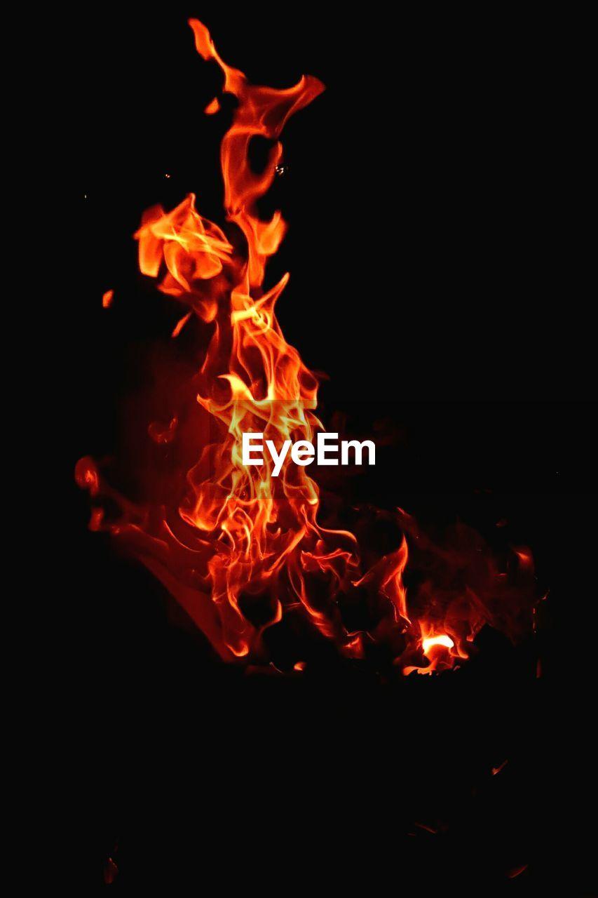 burning, orange color, no people, night, flame, heat - temperature, close-up, outdoors, bonfire