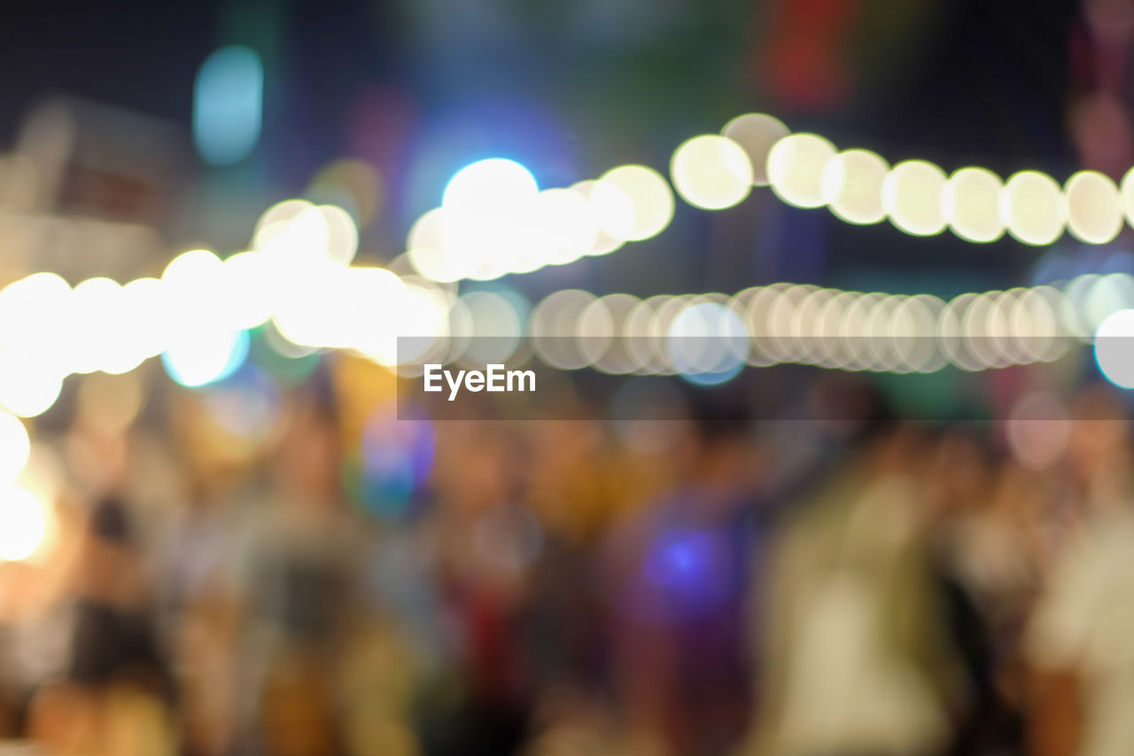 Atmosphere, blur of people and lights