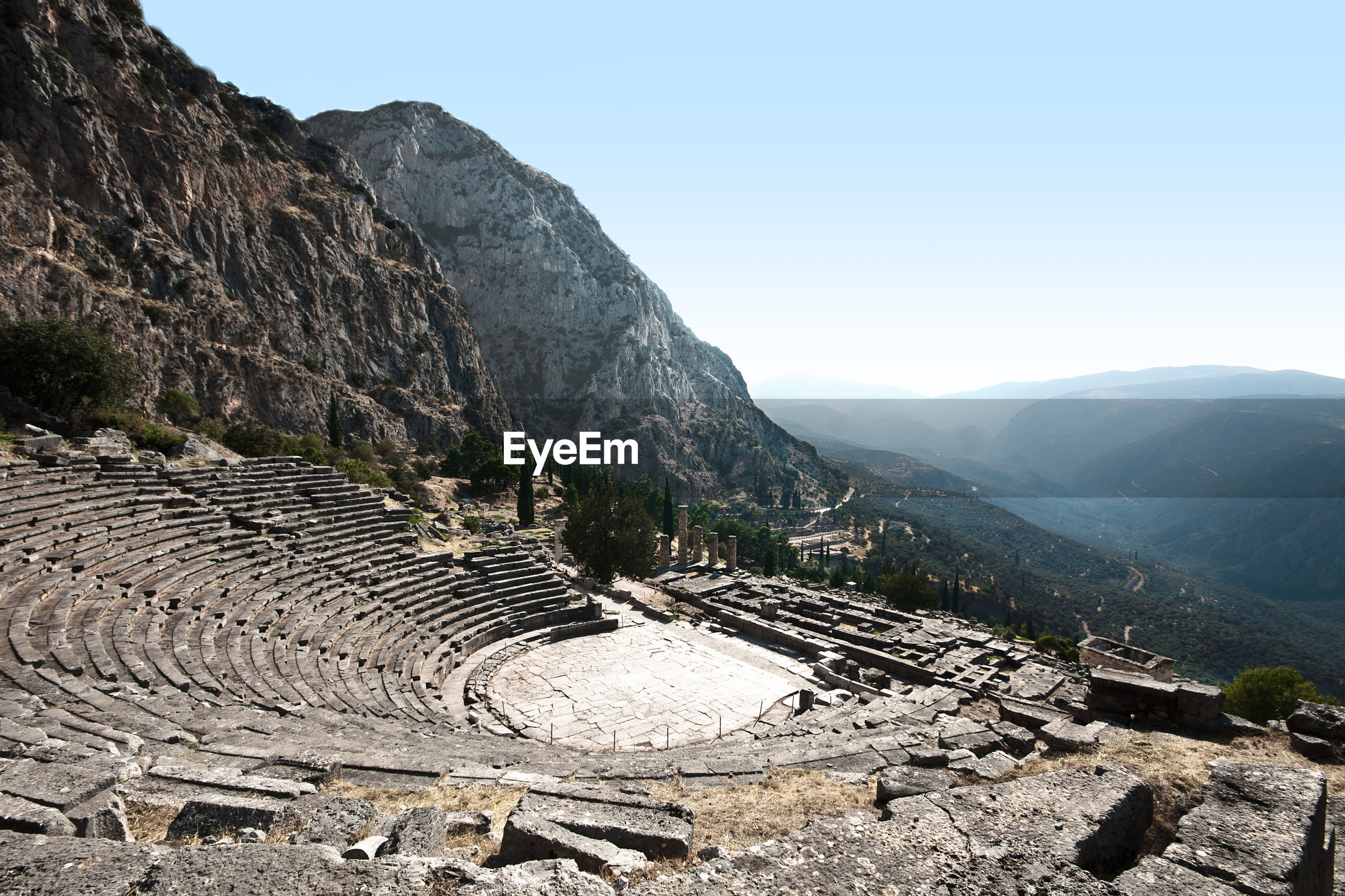 Aerial view of amphitheater against mountain range