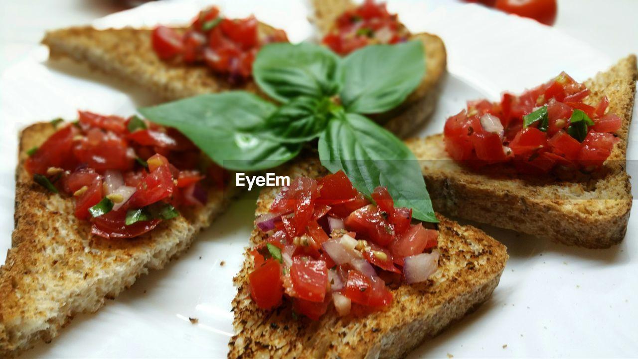 Close-up of bruschetta served in plate