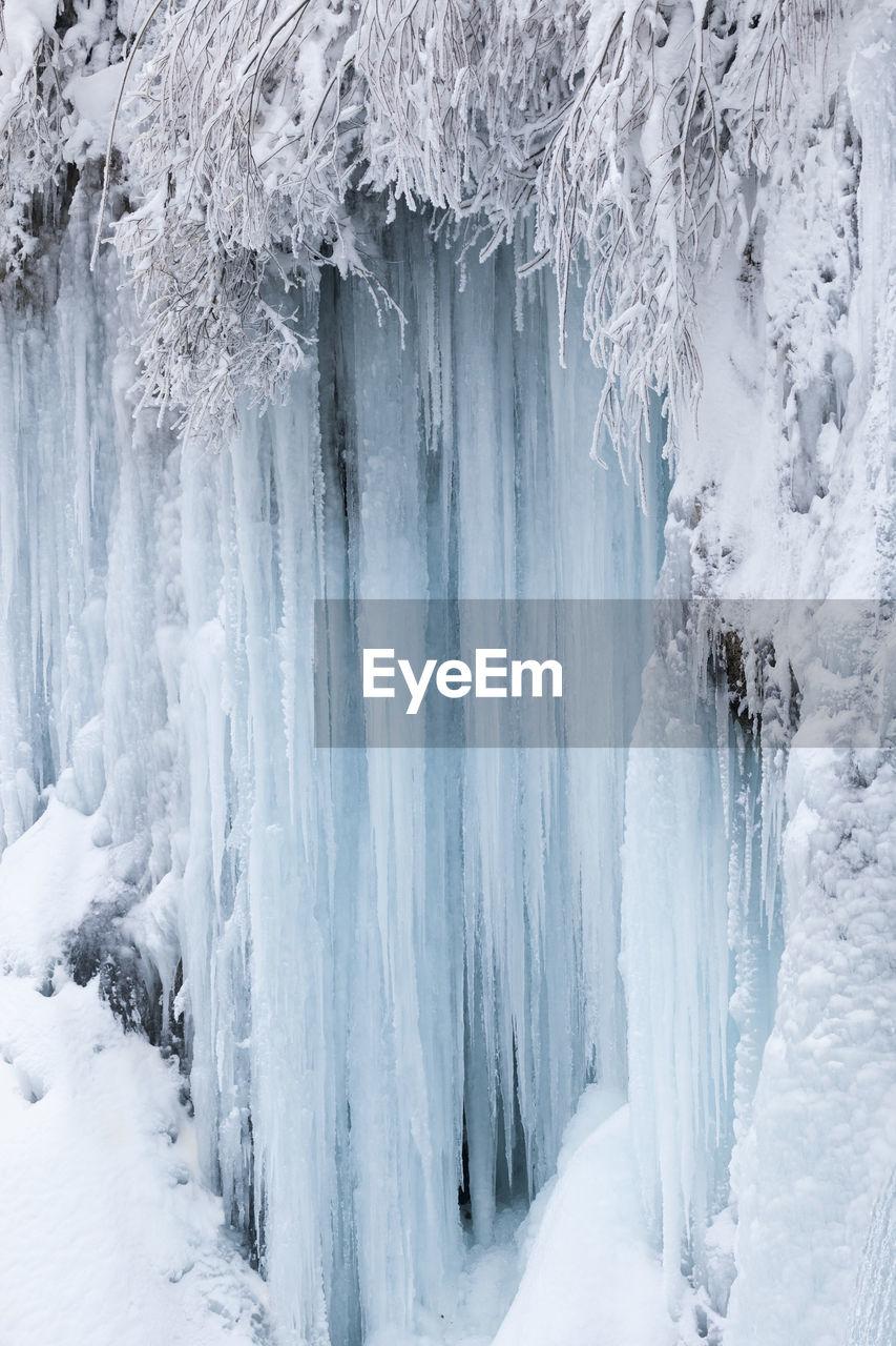 Frozen waterfalls on plitvice lakes np