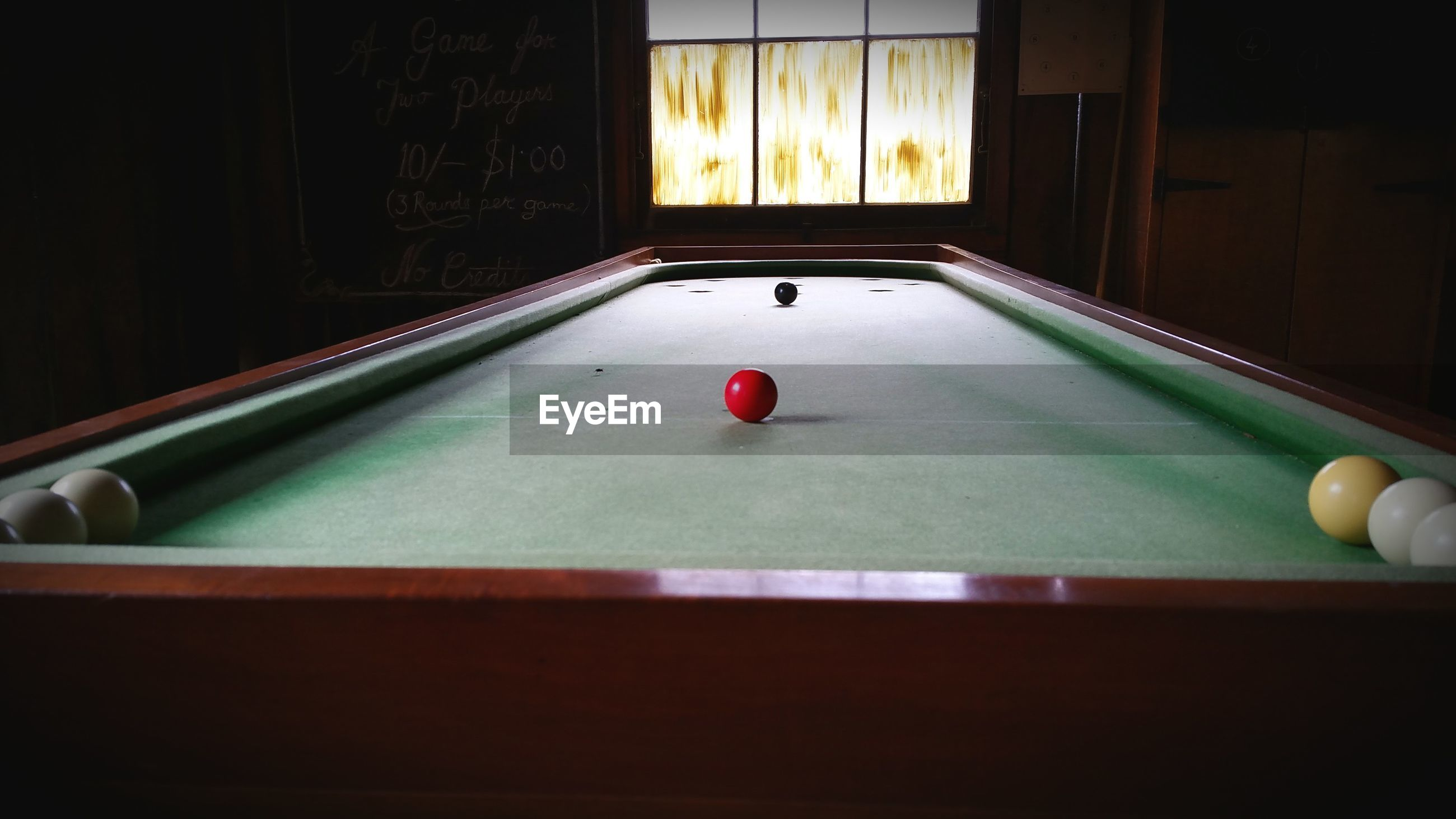 Pool table in room