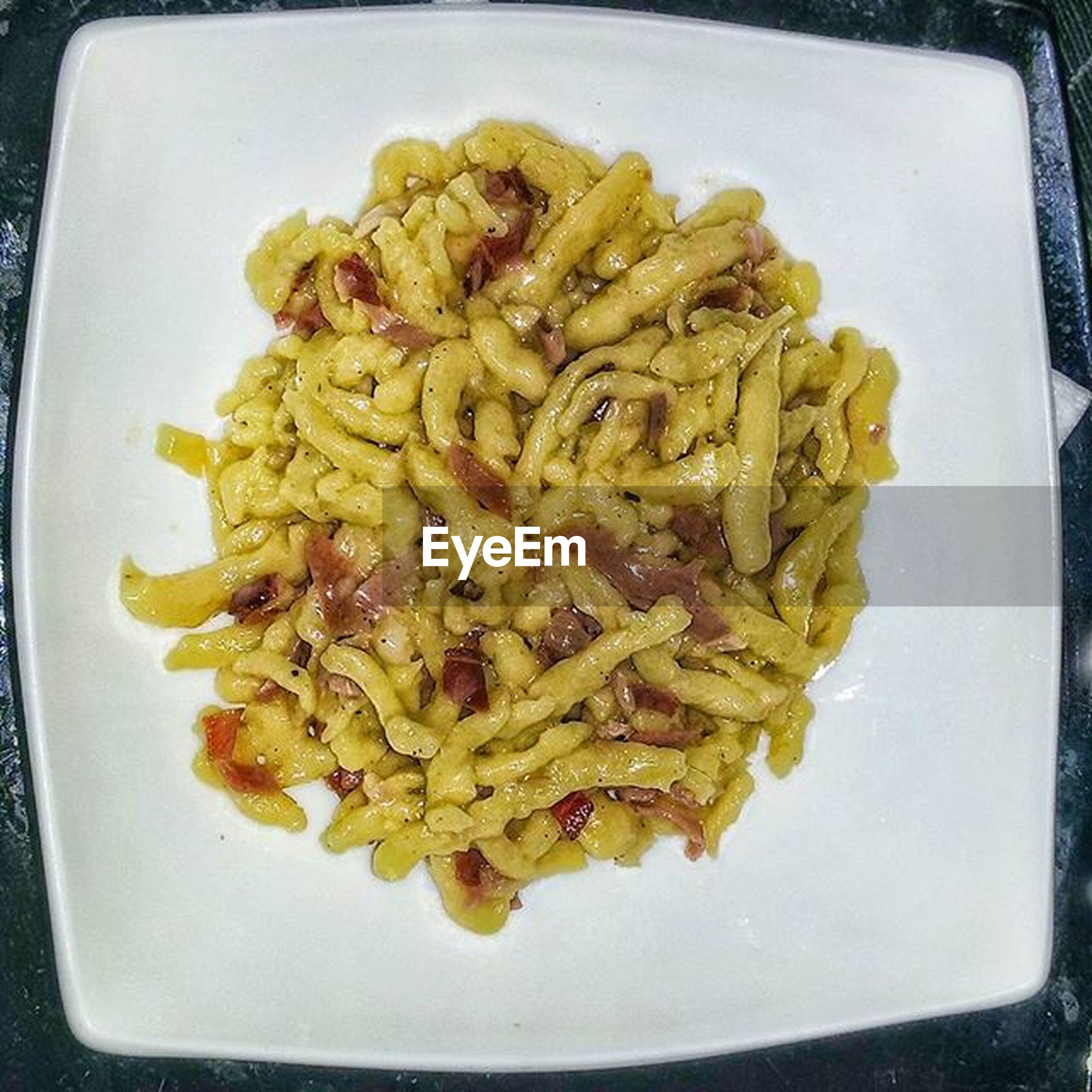 food, food and drink, indoors, freshness, plate, ready-to-eat, still life, close-up, healthy eating, serving size, meal, high angle view, pasta, indulgence, directly above, table, noodles, cooked, no people, meat