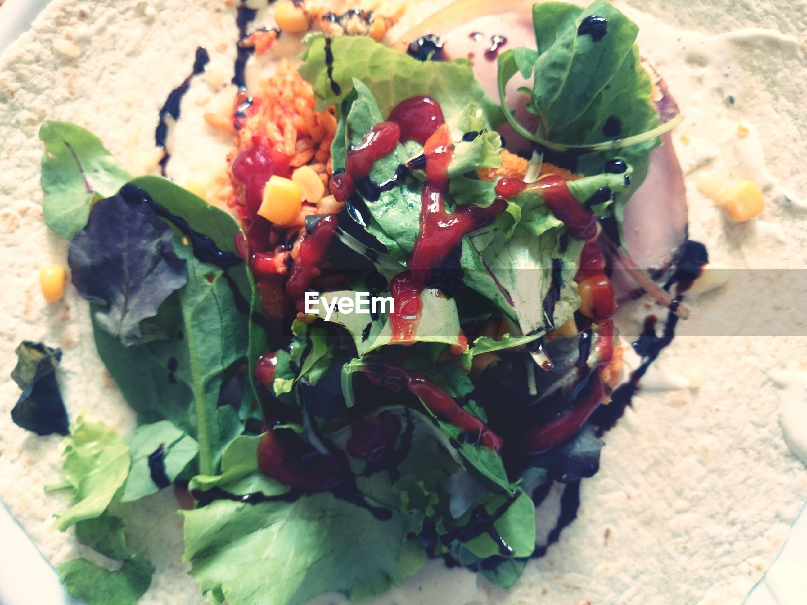 Close-up of vegetables in open wrap