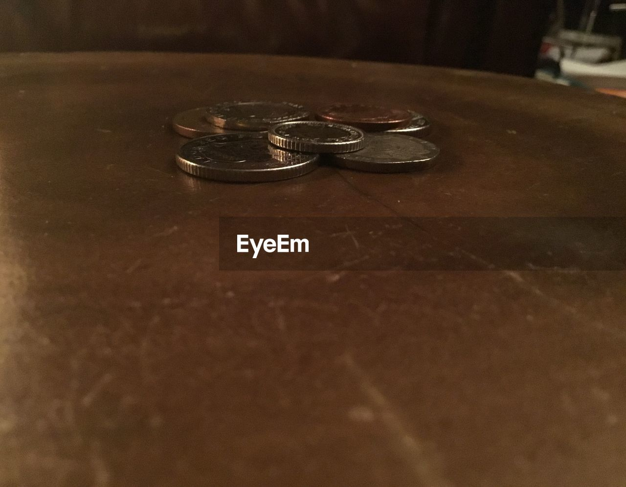 coin, table, indoors, no people, close-up