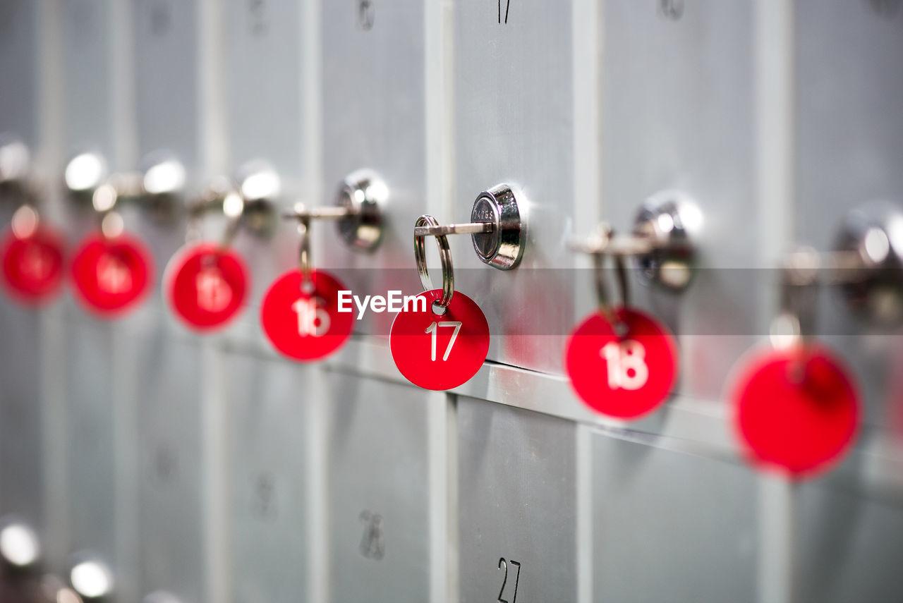 Close-up of keys on lockers