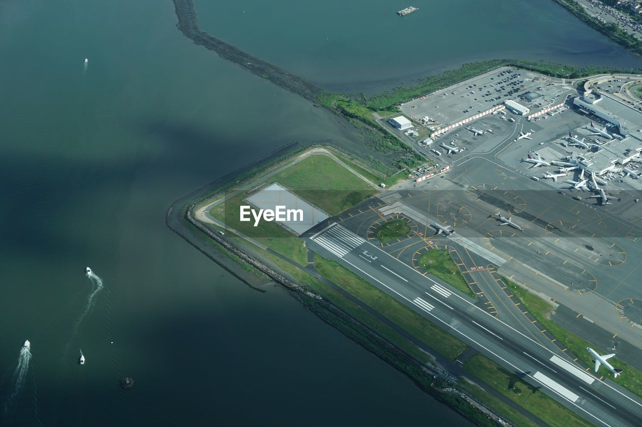 High Angle View Of Airport By Sea