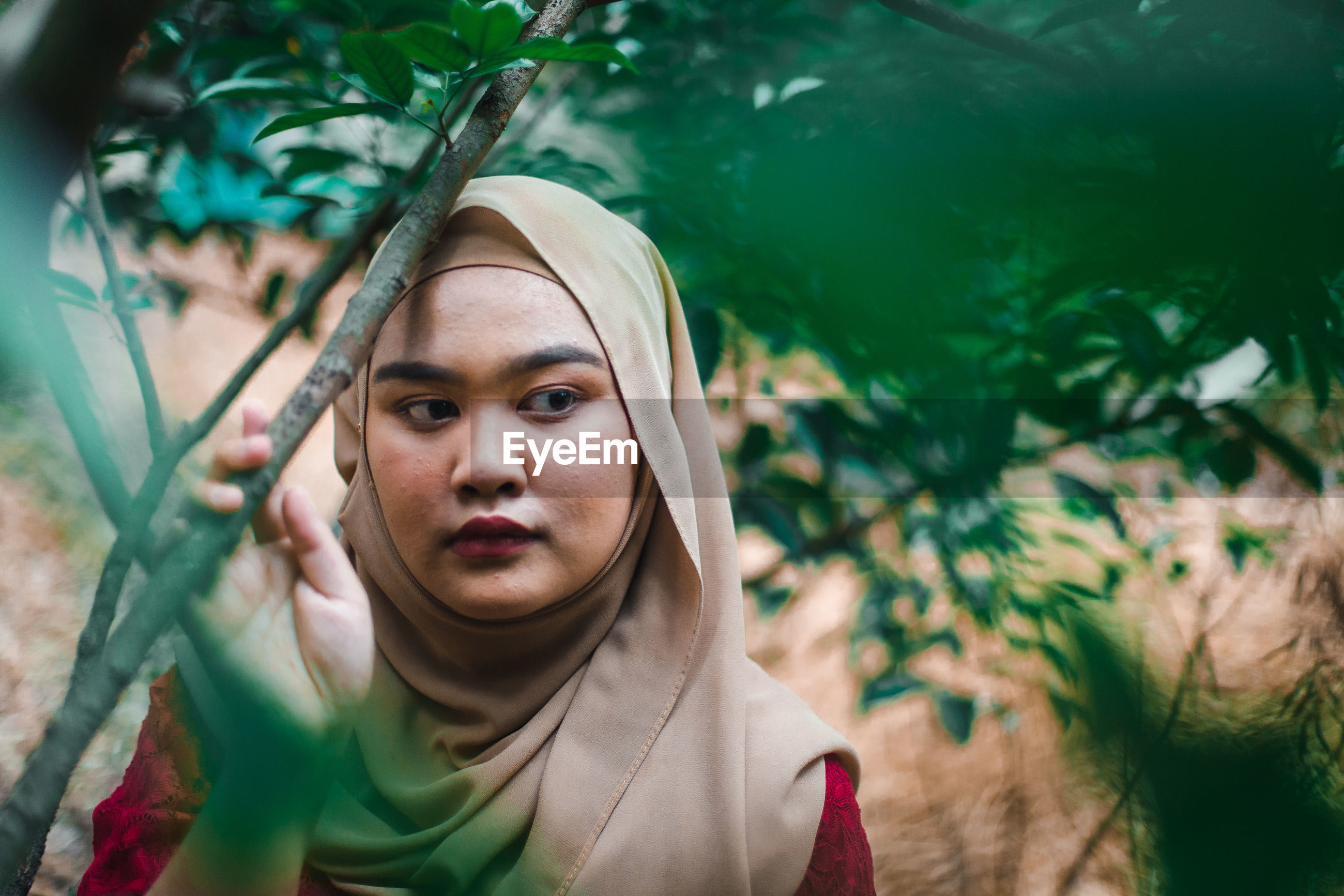Young woman looking away by trees
