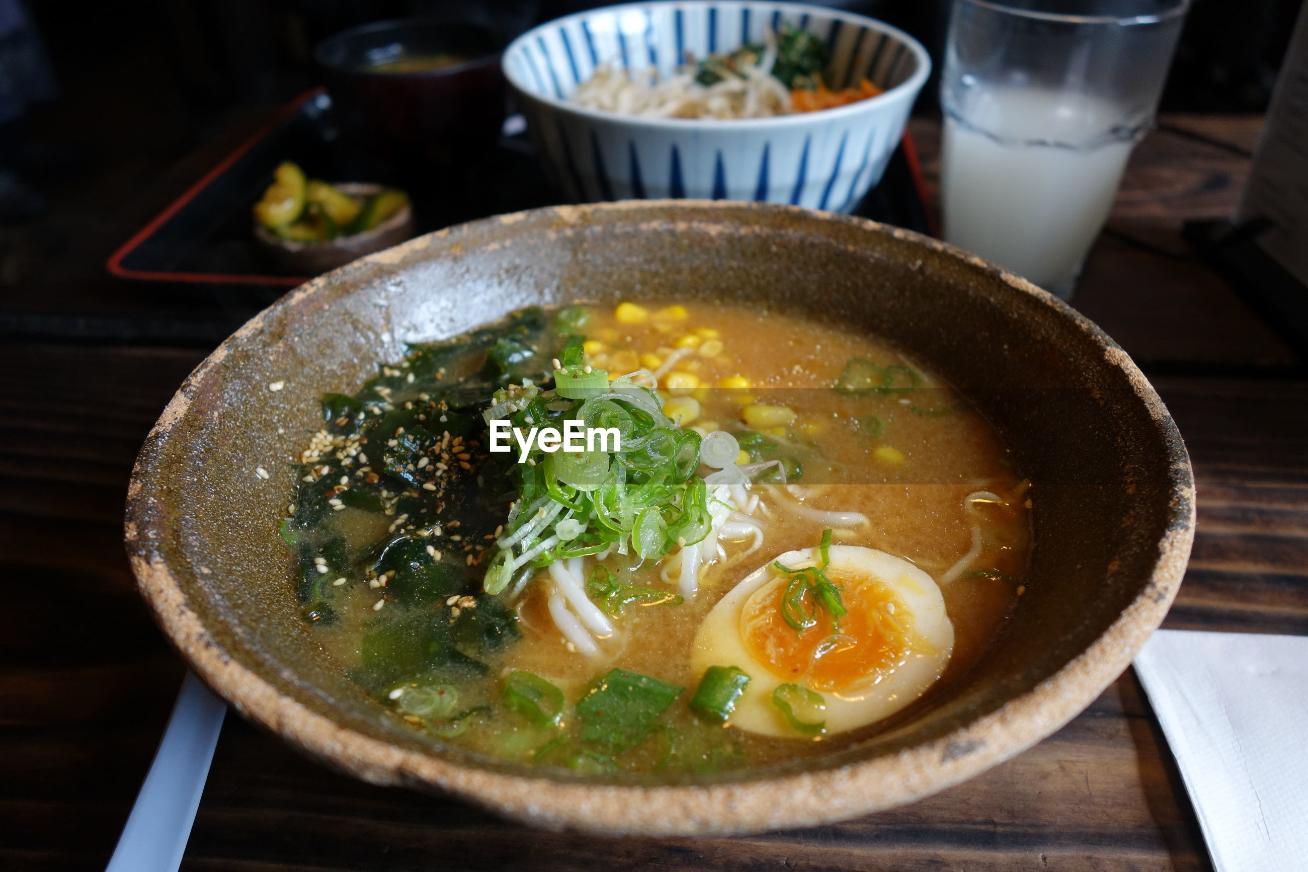 Close-up of noodle soup on table