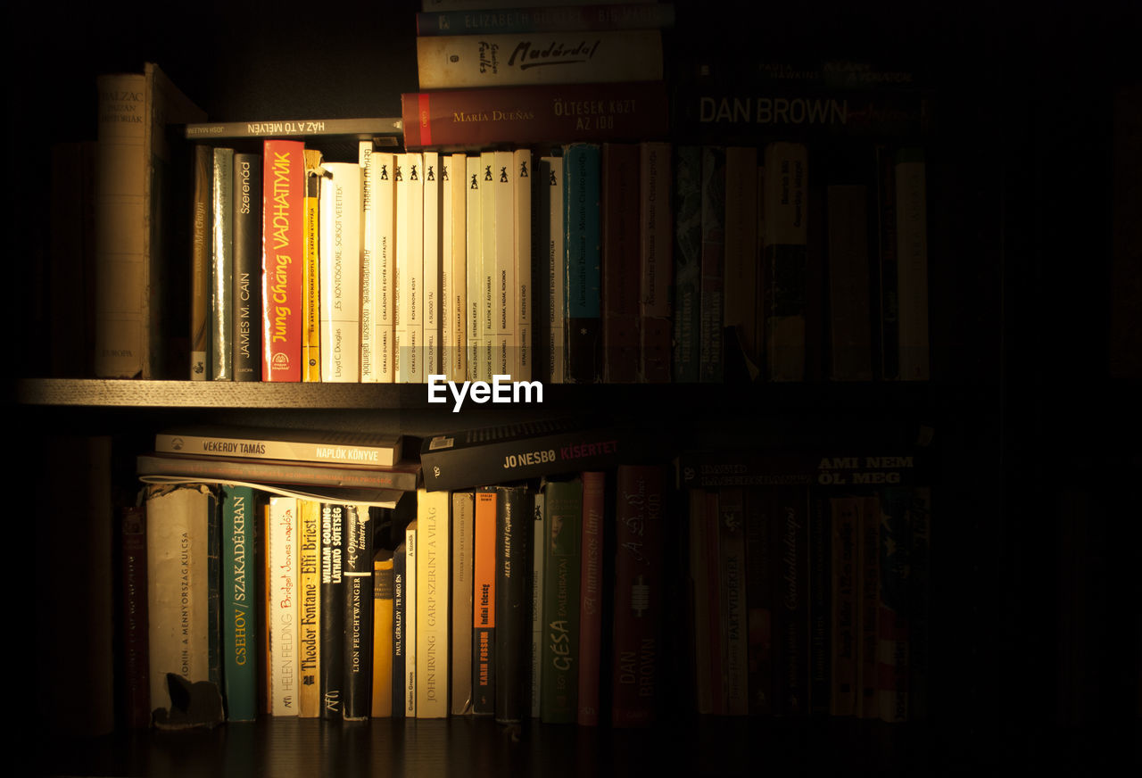 book, bookshelf, education, shelf, library, indoors, literature, learning, in a row, arrangement, knowledge, collection, choice, large group of objects, black background, no people, wisdom, close-up