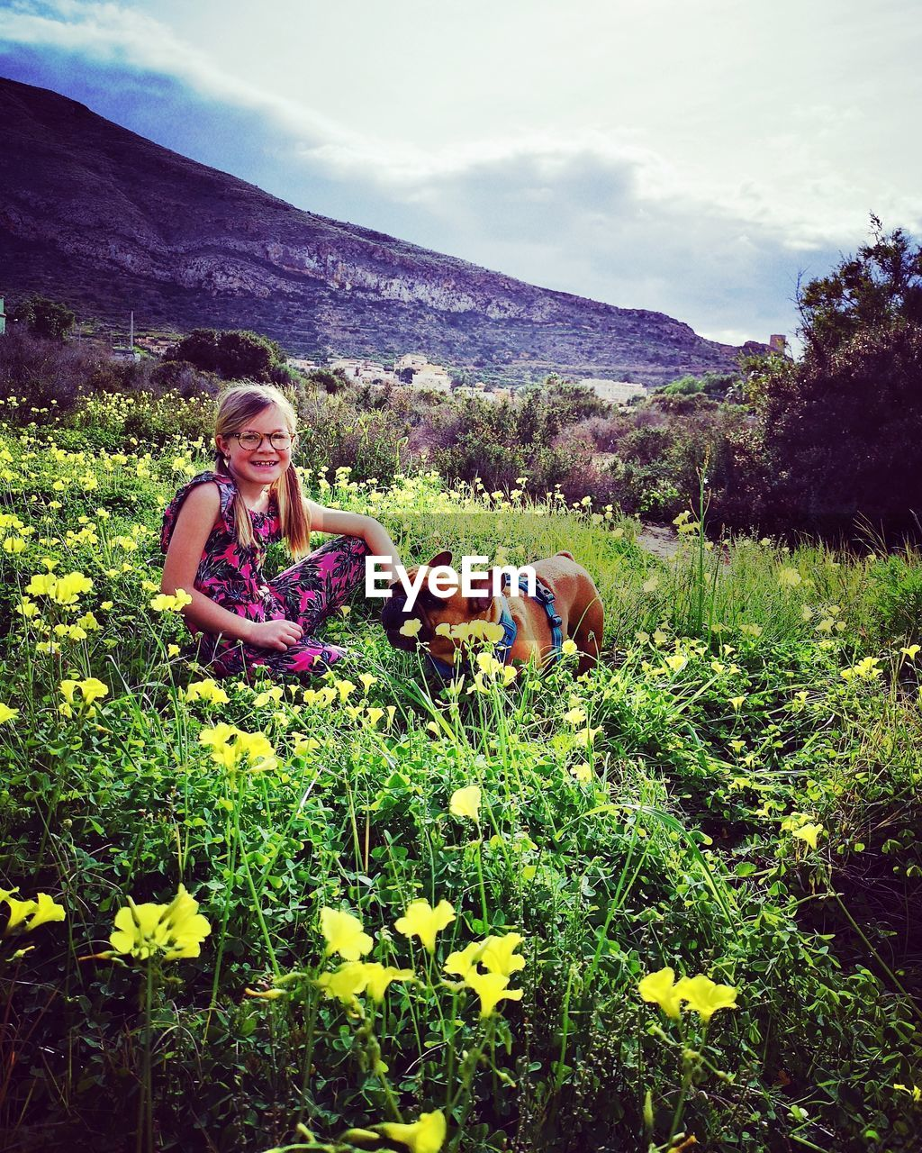 Portrait of girl smiling while sitting with dog amidst yellow flowers on mountain