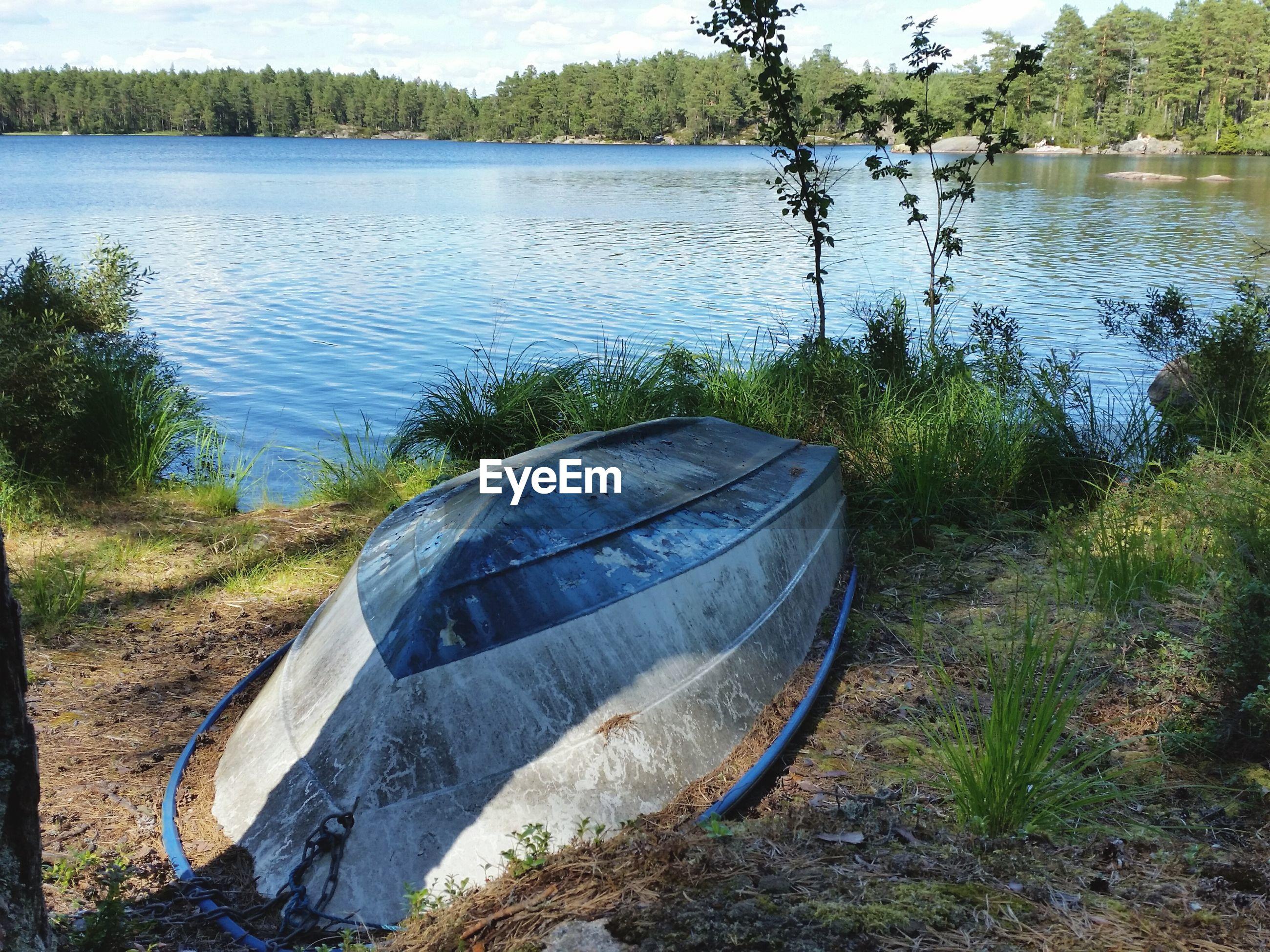 Upside down boat of lakeshore
