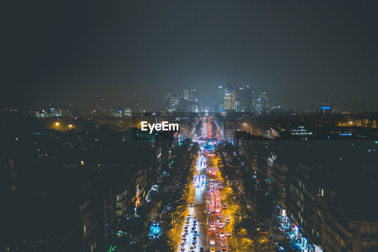 illuminated, city, building exterior, architecture, built structure, night, cityscape, high angle view, building, no people, sky, nature, residential district, street, copy space, outdoors, city life, urban skyline, office building exterior, skyscraper, nightlife, financial district