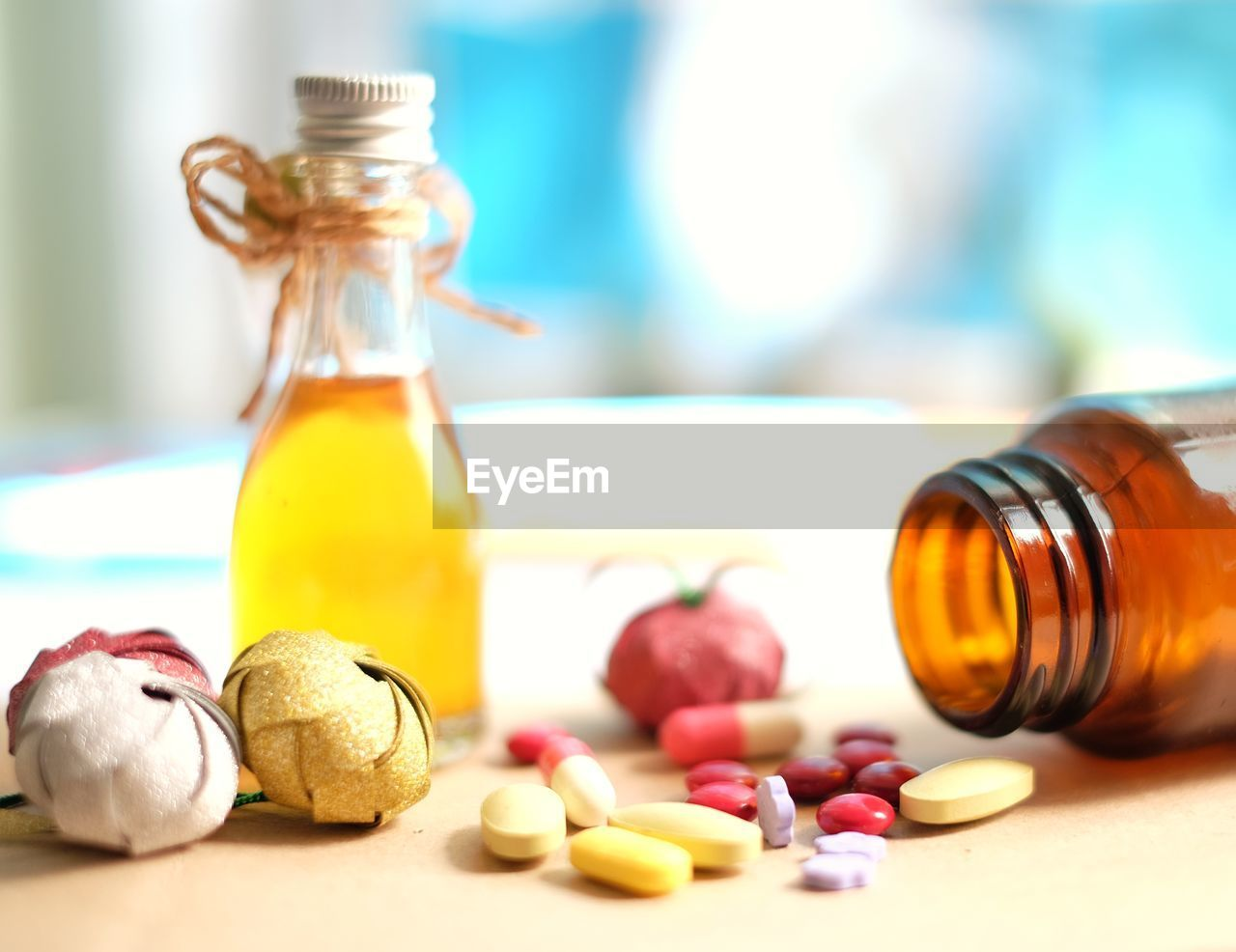 Close-up of medicines on table