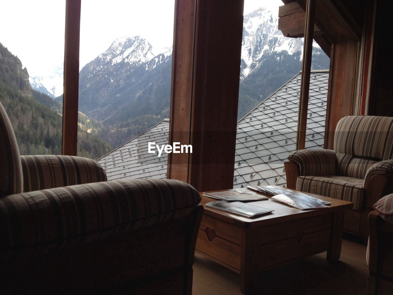 Mountain Seen Through Windows Of Living Room