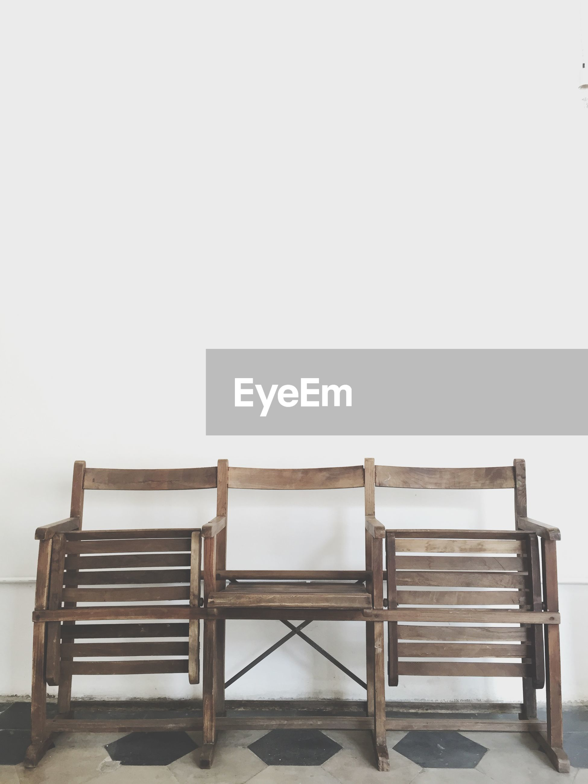 Folded wooden chairs