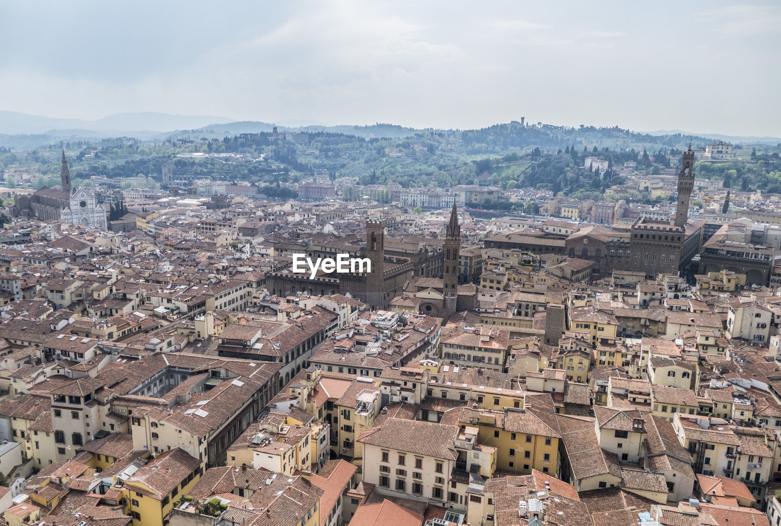 Aerial view of the historic center of florence with so many monuments