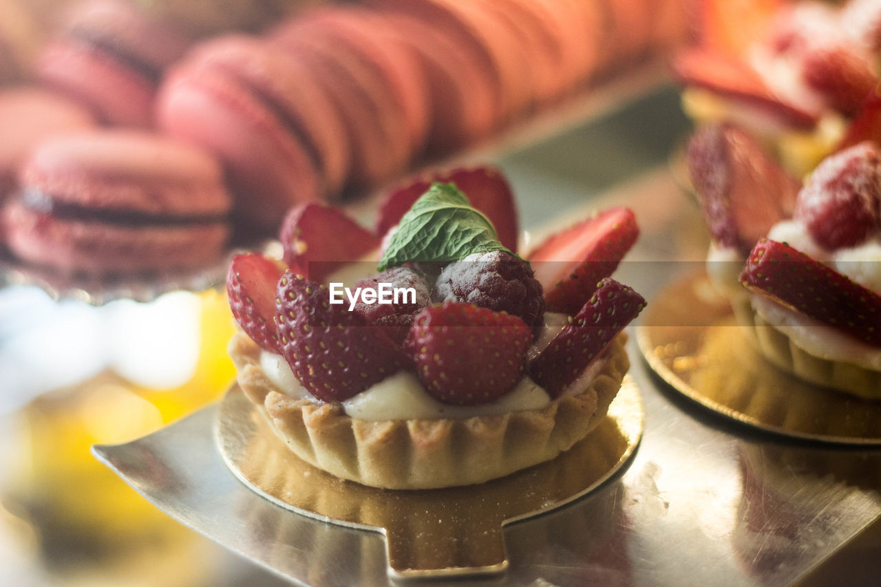 High Angle View Of Strawberry Tart For Sale In Shop