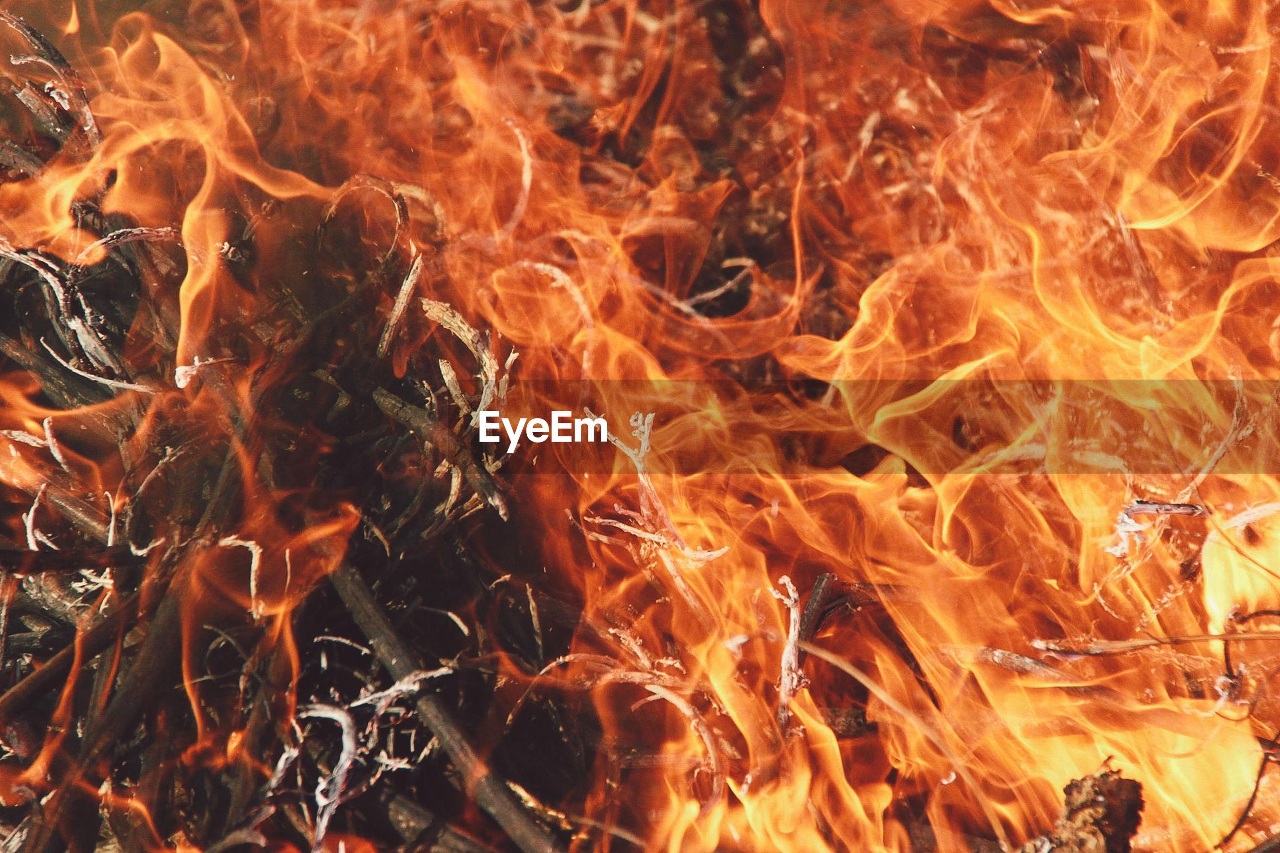 Full frame shot of burning twigs