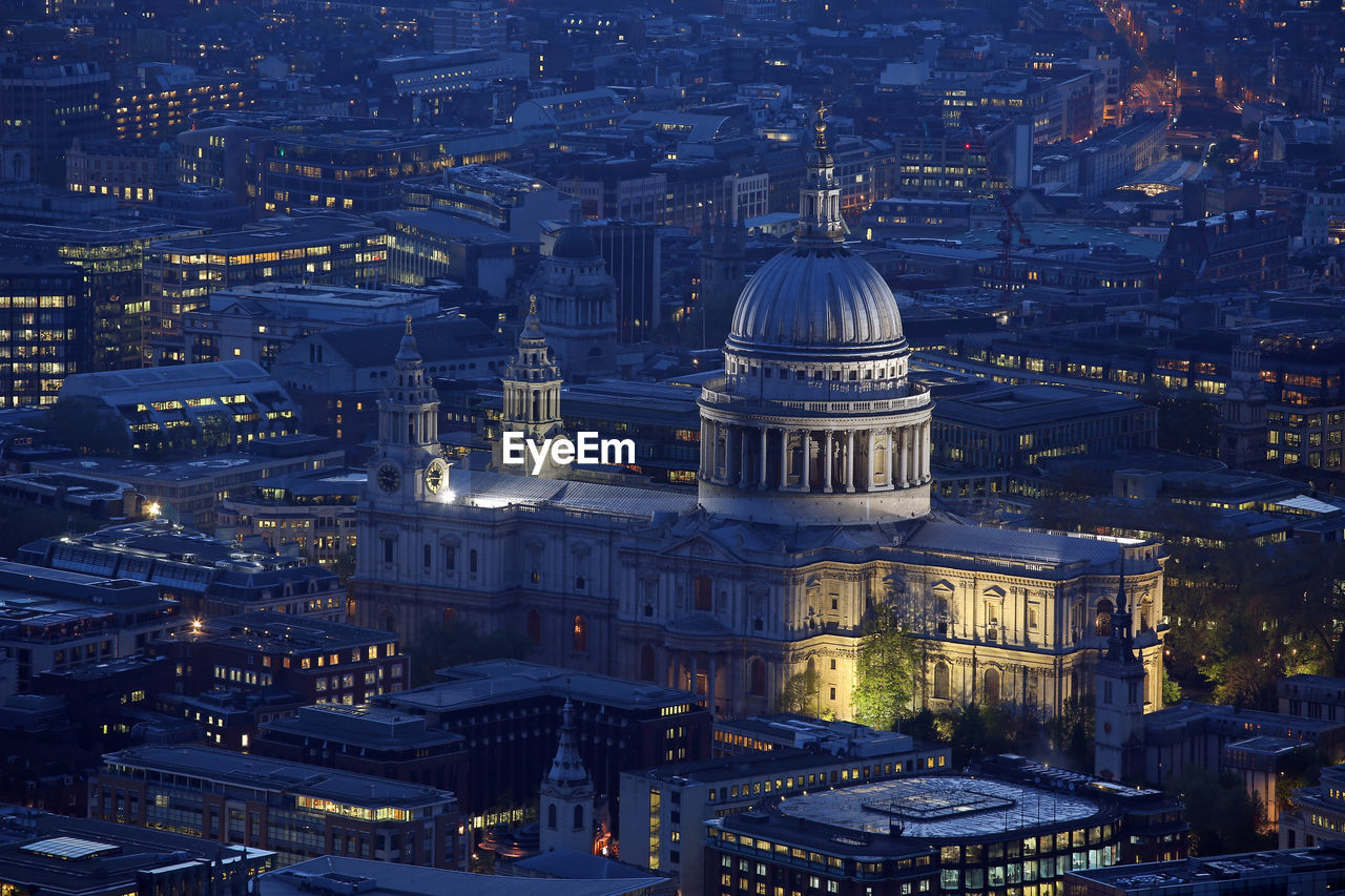 High Angle View Of Illuminated St Paul Cathedral Amidst City At Night