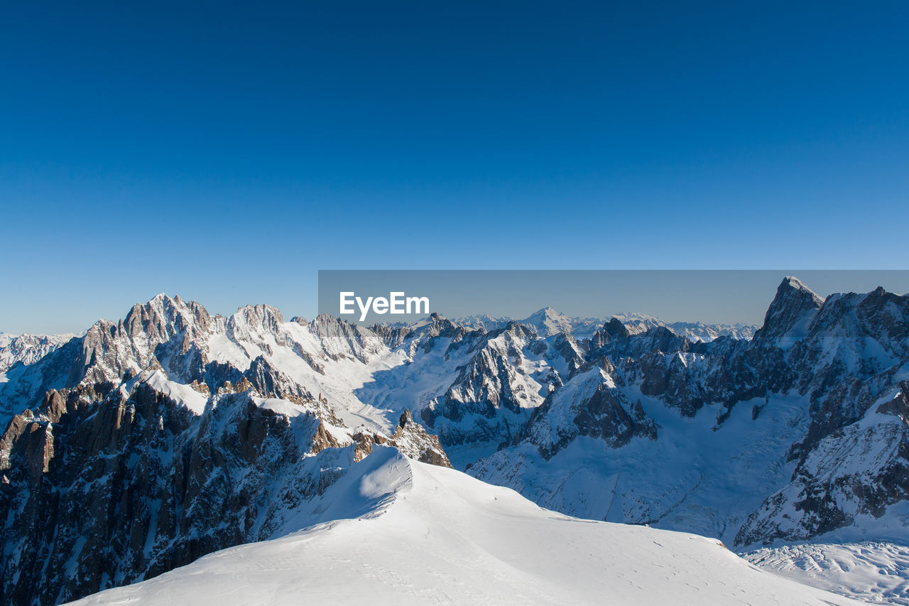 Scenic View Of Snow Covered Mountains Against Clear Sky